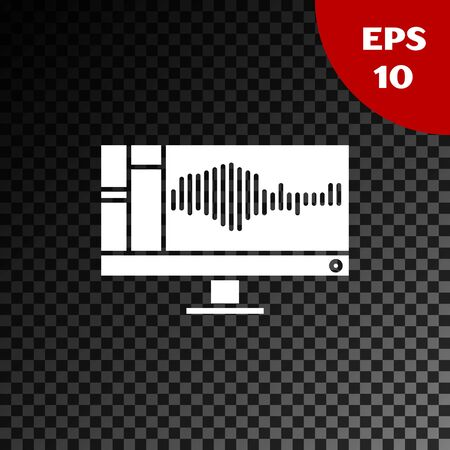 White Sound or audio recorder or editor software on computer monitor icon isolated on transparent dark background. Vector Illustration