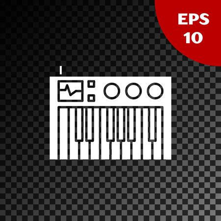 White Music synthesizer icon isolated on transparent dark background. Electronic piano. Vector Illustration Foto de archivo - 134853522