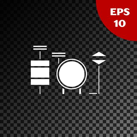 White Drums icon isolated on transparent dark background. Music sign. Musical instrument symbol. Vector Illustration