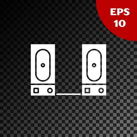 White Stereo speaker icon isolated on transparent dark background. Sound system speakers. Music icon. Musical column speaker bass equipment. Vector Illustration Illusztráció