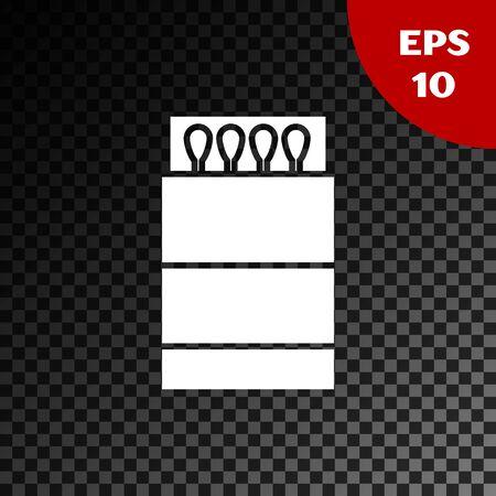 White Open matchbox and matches icon isolated on transparent dark background. Vector Illustration Illusztráció