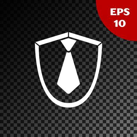 White Tie icon isolated on transparent dark background. Necktie and neckcloth symbol. Vector Illustration Illusztráció