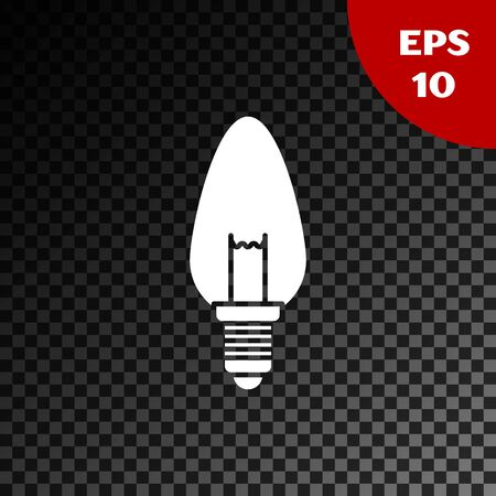 White Light bulb with concept of idea icon isolated on transparent dark background. Energy and idea symbol. Inspiration concept. Vector Illustration