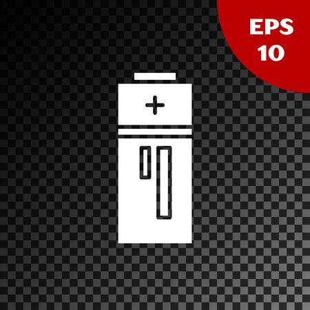 White Battery icon isolated on transparent dark background. Lightning bolt symbol. Vector Illustration
