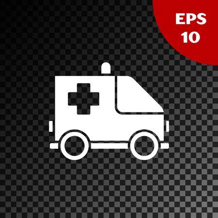 White Ambulance and emergency car icon isolated on transparent dark background. Ambulance vehicle medical evacuation. Vector Illustration Ilustração