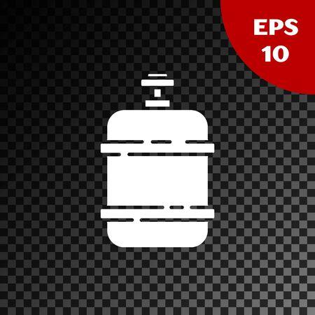 White Propane gas tank icon isolated on transparent dark background. Flammable gas tank icon. Vector Illustration Illusztráció