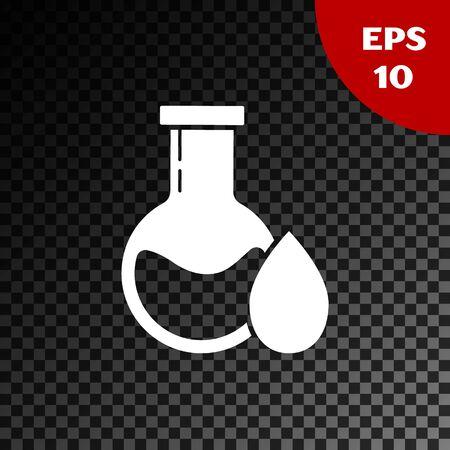 White Oil petrol test tube icon isolated on transparent dark background. Vector Illustration Stock Vector - 134853245