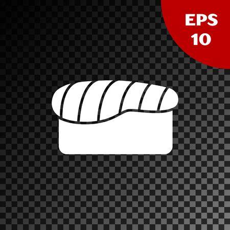 White Sushi icon isolated on transparent dark background. Traditional Japanese food. Vector Illustration Illusztráció