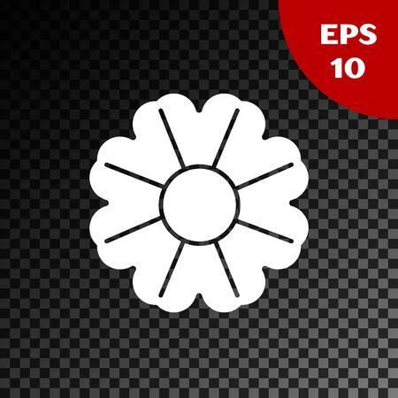 White Flower icon isolated on transparent dark background. Vector Illustration Standard-Bild - 134852901
