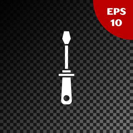 White Screwdriver icon isolated on transparent dark background. Service tool symbol. Vector Illustration Illustration
