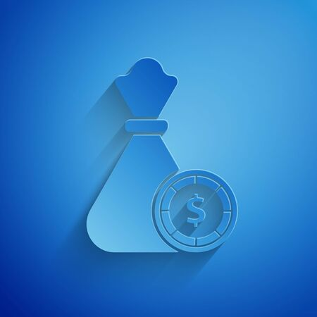 Paper cut Money bag and casino chips icon isolated on blue background. Dollar or USD symbol. Cash Banking currency sign. Paper art style. Vector Illustration