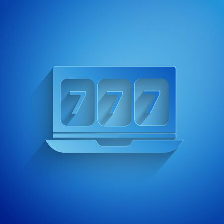 Paper cut Online slot machine with lucky sevens jackpot icon isolated on blue background. Online casino. Paper art style. Vector Illustration