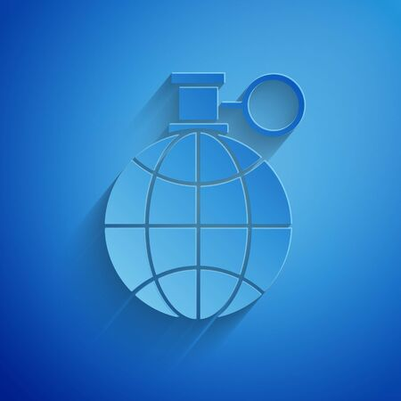 Paper cut Planet earth and a recycling icon isolated on blue background. Environmental concept. Paper art style. Vector Illustration