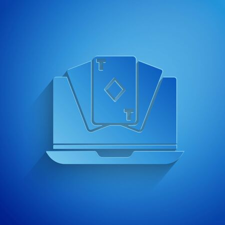 Paper cut Online poker table game icon isolated on blue background. Online casino. Paper art style. Vector Illustration Illustration