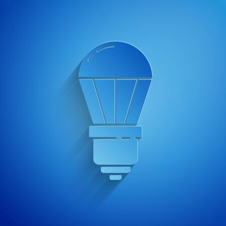 Paper cut LED light bulb icon isolated on blue background. Economical LED illuminated lightbulb. Save energy lamp. Paper art style. Vector Illustration 向量圖像