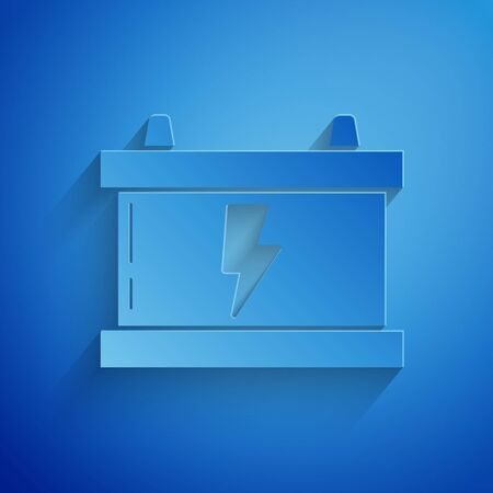 Paper cut Car battery icon isolated on blue background. Accumulator battery energy power and electricity accumulator battery. Lightning bolt. Paper art style. Vector Illustration