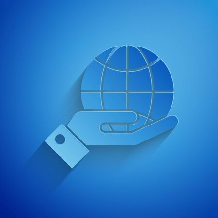 Paper cut Human hands holding Earth globe icon isolated on blue background. Save earth concept. Paper art style. Vector Illustration 向量圖像