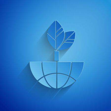 Paper cut Earth globe and leaf icon isolated on blue background. World or Earth sign. Geometric shapes. Environmental concept. Paper art style. Vector Illustration