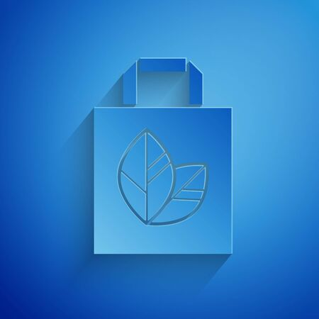 Paper cut Paper shopping bag with recycle icon isolated on blue background. Bag with recycling symbol. Paper art style. Vector Illustration