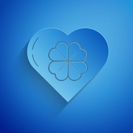 Paper cut Heart with four leaf clover icon isolated on blue background. Happy Saint Patrick day. Paper art style. Vector Illustration