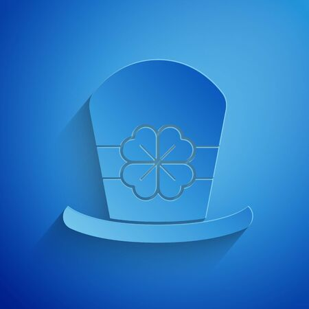 Paper cut Leprechaun hat and four leaf clover icon isolated on blue background. Happy Saint Patricks day. Paper art style. Vector Illustration