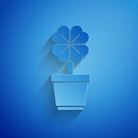 Paper cut Four leaf clover in pot icon isolated on blue background. Happy Saint Patrick day. Paper art style. Vector Illustration