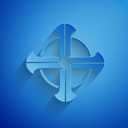 Paper cut Celtic cross icon isolated on blue background. Happy Saint Patricks day. Paper art style. Vector Illustration Banco de Imagens - 134852429