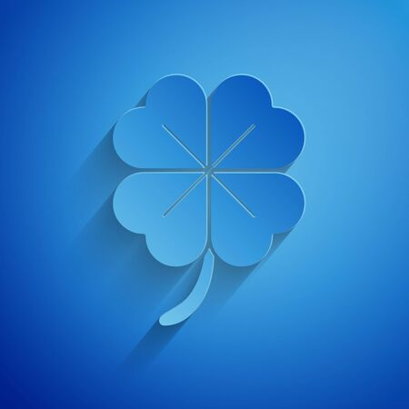 Paper cut Four leaf clover icon isolated on blue background. Happy Saint Patrick day. Paper art style. Vector Illustration