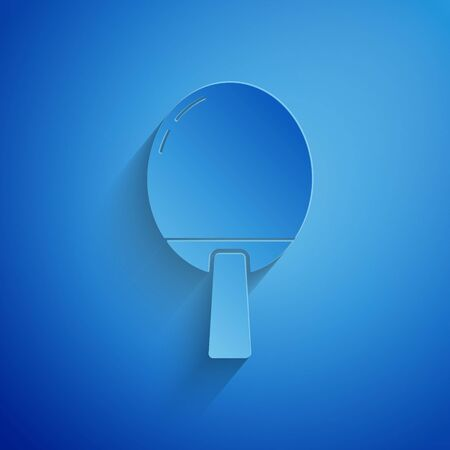 Paper cut Racket for playing table tennis icon isolated on blue background. Paper art style. Vector Illustration