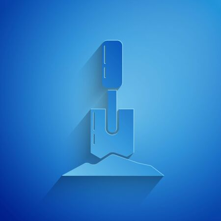 Paper cut Shovel in the ground icon isolated on blue background. Gardening tool. Tool for horticulture, agriculture, farming. Paper art style. Vector Illustration
