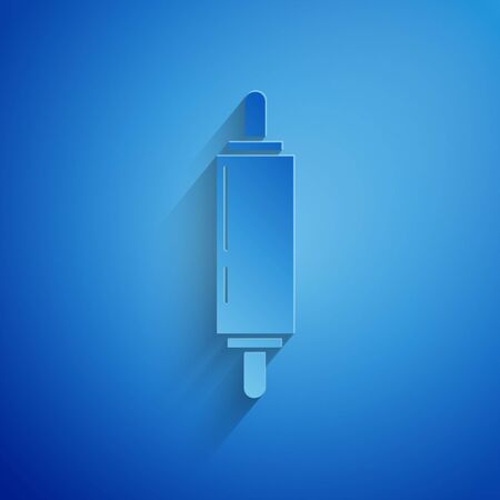 Paper cut Rolling pin icon isolated on blue background. Paper art style. Vector Illustration