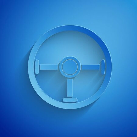 Paper cut Steering wheel icon isolated on blue background. Car wheel icon. Paper art style. Vector Illustration Illustration