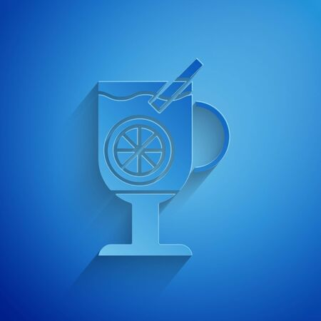 Paper cut Mulled wine with glass of drink and ingredients icon isolated on blue background. Cinnamon stick, clove, lemon slice. Paper art style. Vector Illustration Illustration