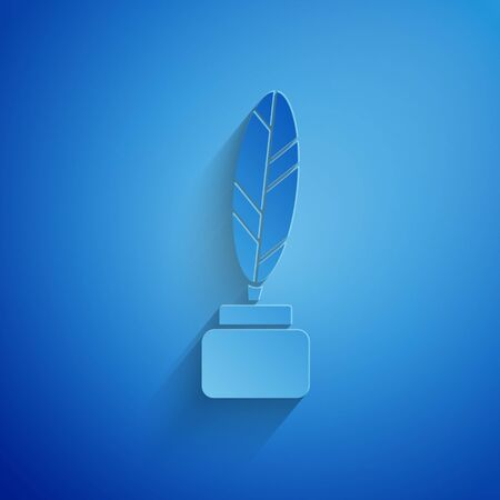 Paper cut Feather and inkwell icon isolated on blue background. Paper art style. Vector Illustration