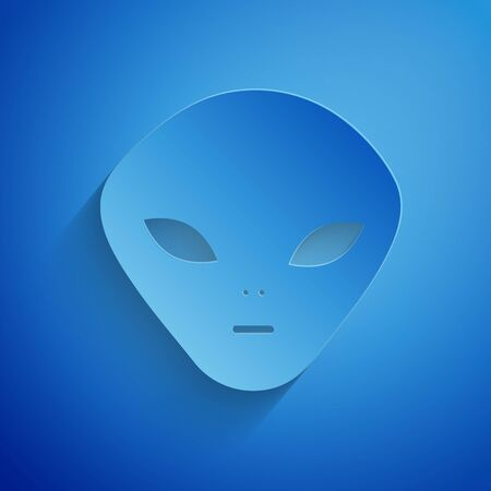 Paper cut Alien icon isolated on blue background. Extraterrestrial alien face or head symbol. Paper art style. Vector Illustration