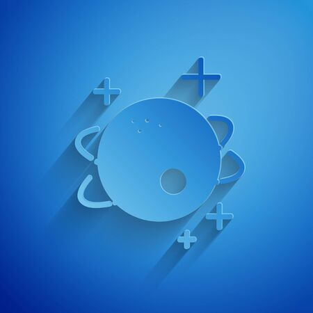 Paper cut Planet icon isolated on blue background. Paper art style. Vector Illustration