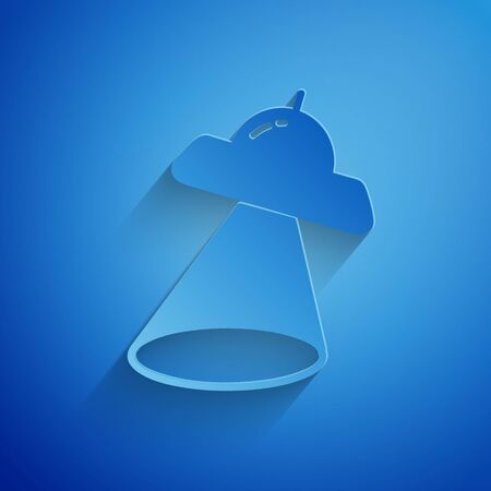 Paper cut UFO flying spaceship icon isolated on blue background. Flying saucer. Alien space ship. Futuristic unknown flying object. Paper art style. Vector Illustration Ilustrace