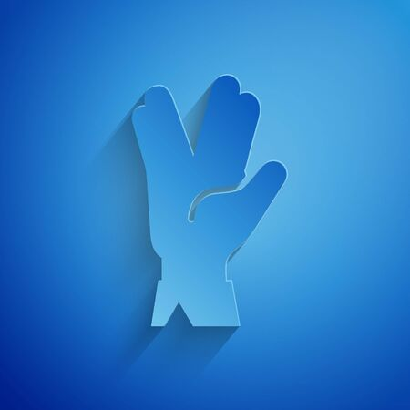 Paper cut Vulcan salute icon isolated on blue background. Hand with vulcan greet. Spock symbol. Paper art style. Vector Illustration Vectores