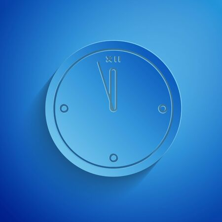 Paper cut Clock icon isolated on blue background. Time symbol. Merry Christmas and Happy New Year. Paper art style. Vector Illustration