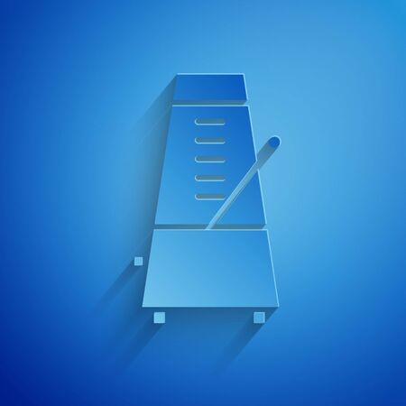Paper cut Classic Metronome with pendulum in motion icon isolated on blue background. Equipment of music and beat mechanism. Paper art style. Vector Illustration Stok Fotoğraf - 134852739