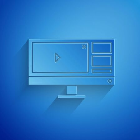 Paper cut Video recorder or editor software on computer monitor icon isolated on blue background. Paper art style. Vector Illustration