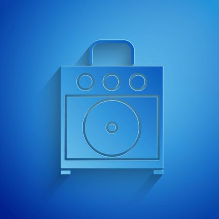 Paper cut Guitar amplifier icon isolated on blue background. Musical instrument. Paper art style. Vector Illustration