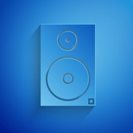 Paper cut Stereo speaker icon isolated on blue background. Sound system speakers. Music icon. Musical column speaker bass equipment. Paper art style. Vector Illustration Illusztráció