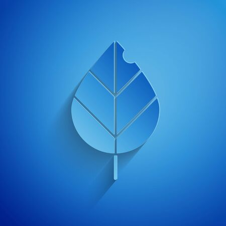 Paper cut Leaf icon isolated on blue background. Fresh natural product symbol. Paper art style. Vector Illustration Standard-Bild - 134852689