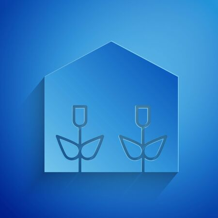 Paper cut Home greenhouse and plants icon isolated on blue background. Paper art style. Vector Illustration Standard-Bild - 134852694