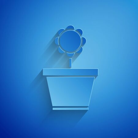 Paper cut Flower in pot icon isolated on blue background. Plant growing in a pot. Potted plant sign. Paper art style. Vector Illustration Standard-Bild - 134852705
