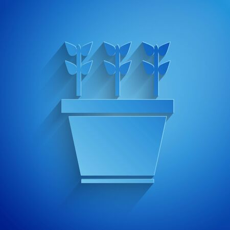 Paper cut Plants in pot icon isolated on blue background. Plants growing in a pot. Potted plant sign. Paper art style. Vector Illustration Standard-Bild - 134851962
