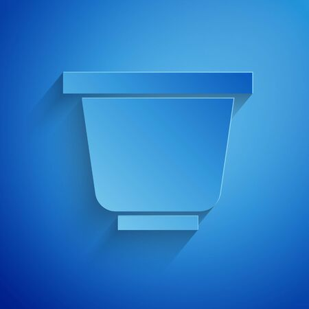 Paper cut Flower pot icon isolated on blue background. Paper art style. Vector Illustration Standard-Bild - 134852707