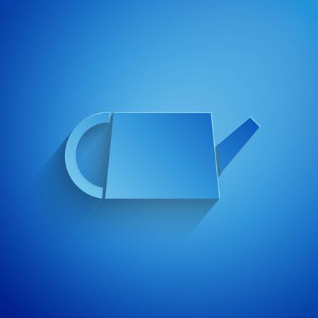 Paper cut Watering can icon isolated on blue background. Irrigation symbol. Paper art style. Vector Illustration