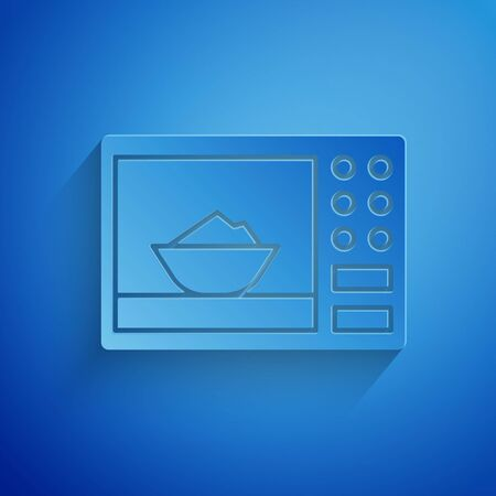 Paper cut Microwave oven icon isolated on blue background. Home appliances icon. Paper art style. Vector Illustration Ilustracja